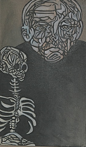 black and white painting of man holding small skeleton
