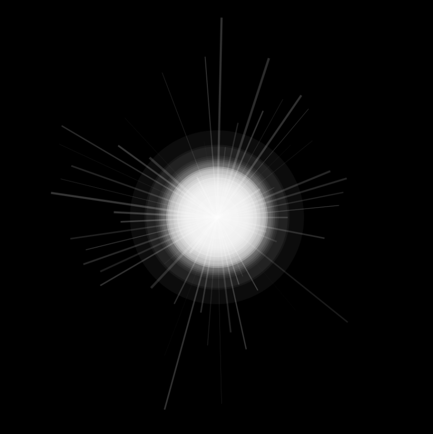 white orb with white lines radiating from its center